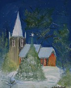 Christmas Holiday Scenery Paintings - Crisp Holiday Night by Louise Burkhardt