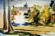 Water Colours Originals - Crisp Water Fountain at the Baptist Home II by Kip DeVore
