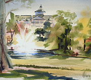Watercolour Mixed Media Originals - Crisp Water Fountain at the Baptist Home III by Kip DeVore