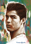 National Mixed Media Prints - Cristiano Ronaldo stylised pop art drawing potrait poster Print by Kim Wang