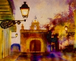 San Juan Prints Paintings - Cristo Chapel San Juan by Estela Robles