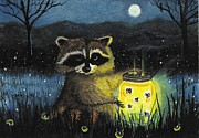 Raccoon Painting Framed Prints - Critter Collection Framed Print by AmyLyn Bihrle