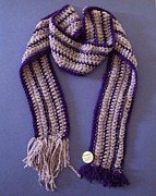 Featured Tapestries - Textiles - Crochet Purple lined Scarf by Gay Taweel