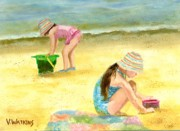 Beach Towel Painting Posters - Crocheted Beach Hats Poster by Vicky Watkins