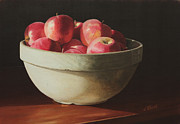 Apples Painting Framed Prints - Crock Apples Framed Print by Nancy Teague