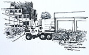 Delivery Truck Drawings - Crocker Center with a McDonalds delivery truck by Robert Birkenes