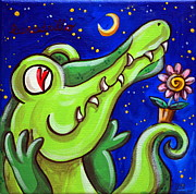 Crocodile Paintings - Crocodile In Love With The Moon by Raffaella Di Vaio