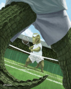 Tennis Racket Prints - Crocodiles Playing Tennis At Wimbledon  Print by Martin Davey