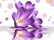 Flowers Digital Art Prints - Crocus Print by Veronica Minozzi