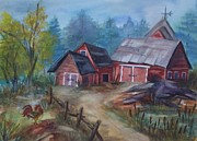 Shed Painting Prints - Crooked Red Barn Print by Ellen Levinson