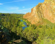 National Mixed Media Prints - Crooked River - Smith Rock State Park - Three Sisters Oregon Print by Photography Moments - Sandi