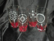 Circle Glass Art Originals - Crop Circle etched glass ware by Ralph Renick