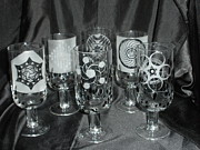 Stemware Glass Art - Crop Circle Stems by Ralph Renick