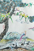 Chinese Tapestries - Textiles Prints - Cropped 1 - 100 Birds Print by Min Wang