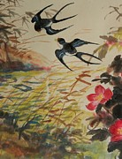 Brids Paintings - Cropped 1 - Spring Breeze by Min Wang