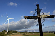 Turbines Photos - Cros and winturbine by Bernard Jaubert