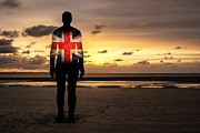 Crosby Prints - Crosby Beach Iron Man With Union Jack Flag Print by Paul Madden