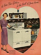 Fifties Drawings - Crosleys  1950s Uk Cookers Kitchens by The Advertising Archives