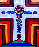 God Mixed Media - Cross 5 by Patrick J Murphy