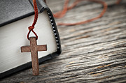 Prayer Photo Metal Prints - Cross and Bible Metal Print by Elena Elisseeva