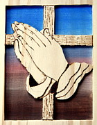 Wood Burn Pyrography Prints - Cross and hands Print by Bill Fugerer
