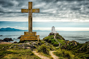 Lighthouse Digital Art - Cross at Llanddwyn Island by Adrian Evans