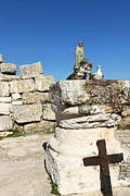Ruins Originals - Cross at St. George Ruins by Munir Alawi