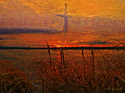 Cross Digital Art Prints - Cross At Sunrise Print by J Larry Walker