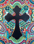 Crucifix Paintings - Cross by Christy Robbins Artwork