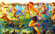 Run Pastels Framed Prints - Cross Country Run Framed Print by Dariusz Janczewski