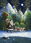 Winter Landscape Paintings - Cross-Country Santa by Lynn Bywaters