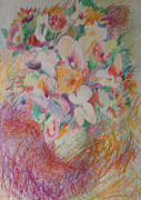 Flora Drawings Prints - Cross Hatch of Flowers Print by Esther Newman-Cohen