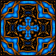 Religious Drawings Digital Art - Cross in Neon Blue Baroque Style by Marcela Bennett