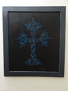 Religious Tapestries - Textiles Originals - Cross by Jeler Anita LeatherArt