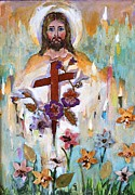 Halo Mixed Media Framed Prints - Cross of Christ Framed Print by Mary Spyridon Thompson