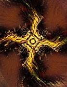 Religious Mixed Media Posters - Cross of Light Poster by Anastasiya Malakhova