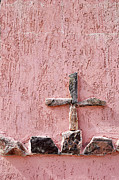 Catholic Art Photo Originals - Cross on Crypt Nogales Mexico by John Hanou