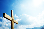 Christian Prayer Photos - Cross on the blue sky by Michal Bednarek