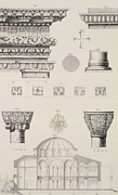 Decoration Drawings Posters - Cross section and architectural details of Kutciuk Aja Sophia the church of Sergius and Bacchus Poster by D Pulgher