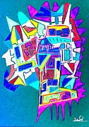 Abstracted Drawings Prints - Cross Section Of My Creative Mind Print by David Rogers