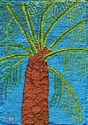 Cross Tapestries - Textiles Framed Prints - Cross Stitched Palm Tree Framed Print by Julia Hanna