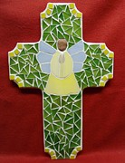 Angel Glass Art - Cross with Angel by Fabiola Rodriguez