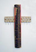 Folk Art Sculptures - Cross with bark and key markers by Christina Knapp