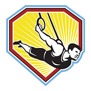 Athlete Digital Art - Crossfit Athlete Muscle-Up Gymnastics Ring Retro by Aloysius Patrimonio