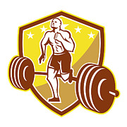 Runner Digital Art - Crossfit Athlete Runner Barbell Shield Retro by Aloysius Patrimonio