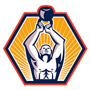 Hexagon Prints - Crossift Athlete Lifting Kettlebell Front Retro Print by Aloysius Patrimonio