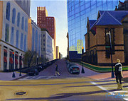 Long Street Painting Posters - Crossing Boylston St. Poster by JJ Long
