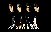 Beatles Drawings Metal Prints - Crossing Into History The Beatles  Metal Print by Iconic Images Art Gallery David Pucciarelli