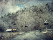 Winter Landscapes Posters - Crossing Into Winter Poster by Kathy Jennings