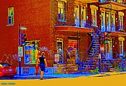 Crossing Laurier Depanneur Maboule Tabagie Biere Et Vin Montreal Street Scene Art By Carole Spandau Print by Carole Spandau